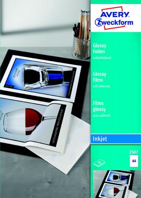 Bílé samolepící fólie AVERY pro inkoust, 0,2 mm, 50 archů, A4 - 2507