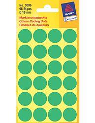 Kulaté etikety AVERY na různá značení, průměr 18 mm, 96 ks, zelené - 3006