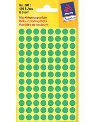 Kulaté etikety AVERY na různá značení, průměr 8 mm, 416 ks, zelené - 3012