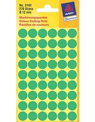 Kulaté etikety AVERY na různá značení, průměr 12 mm, 270 ks, zelené - 3143