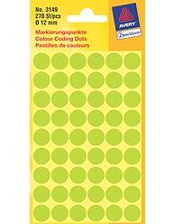 Kulaté etikety AVERY na různá značení, průměr 12 mm, 270 ks, světle zelené - 3149
