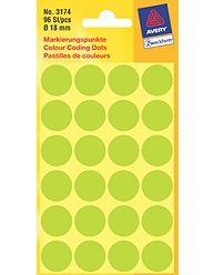 Kulaté etikety AVERY na různá značení, průměr 18 mm, 96 ks,světle zelené - 3174