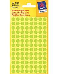 Kulaté etikety AVERY na různá značení, průměr 8 mm, 416 ks, světle zelené - 3179