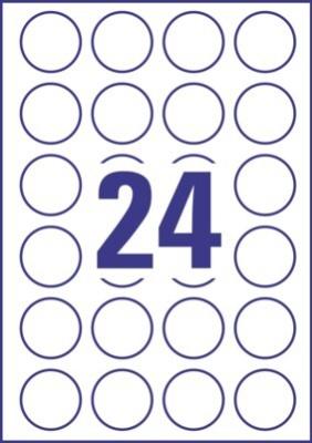 Výrazné kulaté etikety AVERY pro laser, průměr 40 mm, 100 listů, A4, bílé - L3415-100